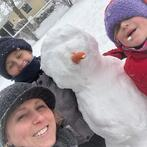 Missy and Kids Build Snowman