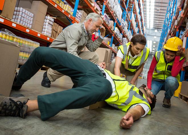 man injured in warehouse
